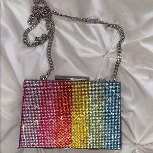 Zara rainbow beaded clutch
